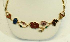 Gucci Italy 18K Gold Multi-Stone Necklace