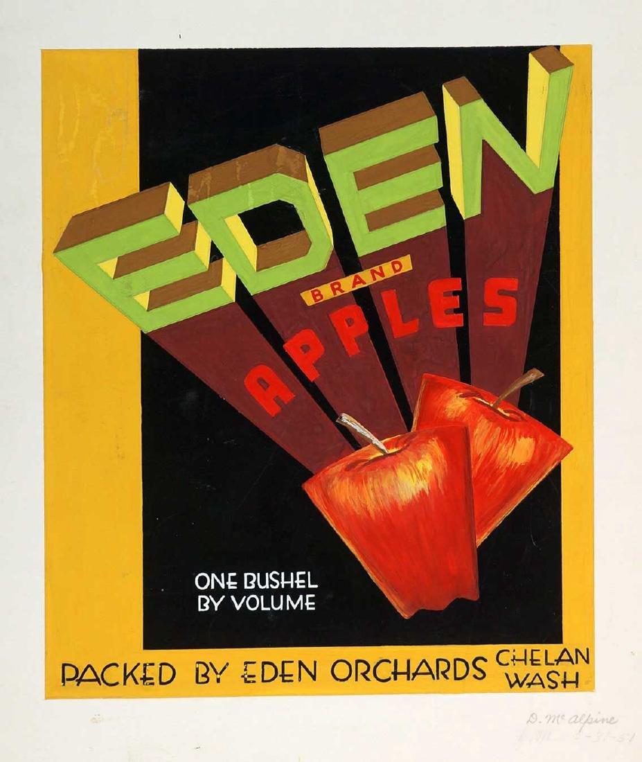 1950's Apple Box Label Original Artwork Chelan, Wa