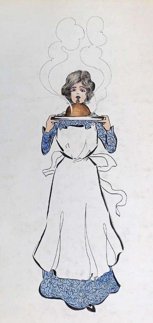 In the Style of Raphael Kirchner Original Artwork