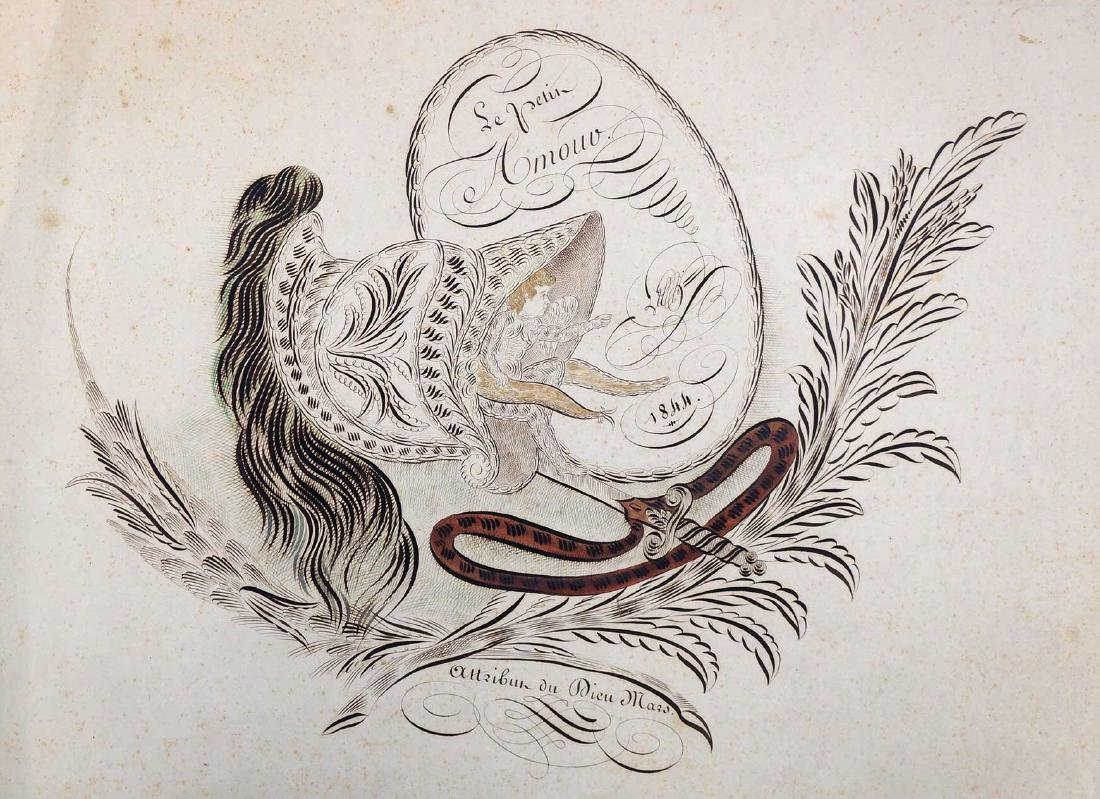 Dated 1844 Large Spencerian Drawing