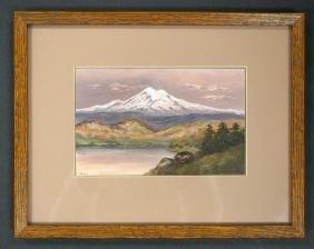 Antique Mt. Rainier Small Painting Signed Lucas
