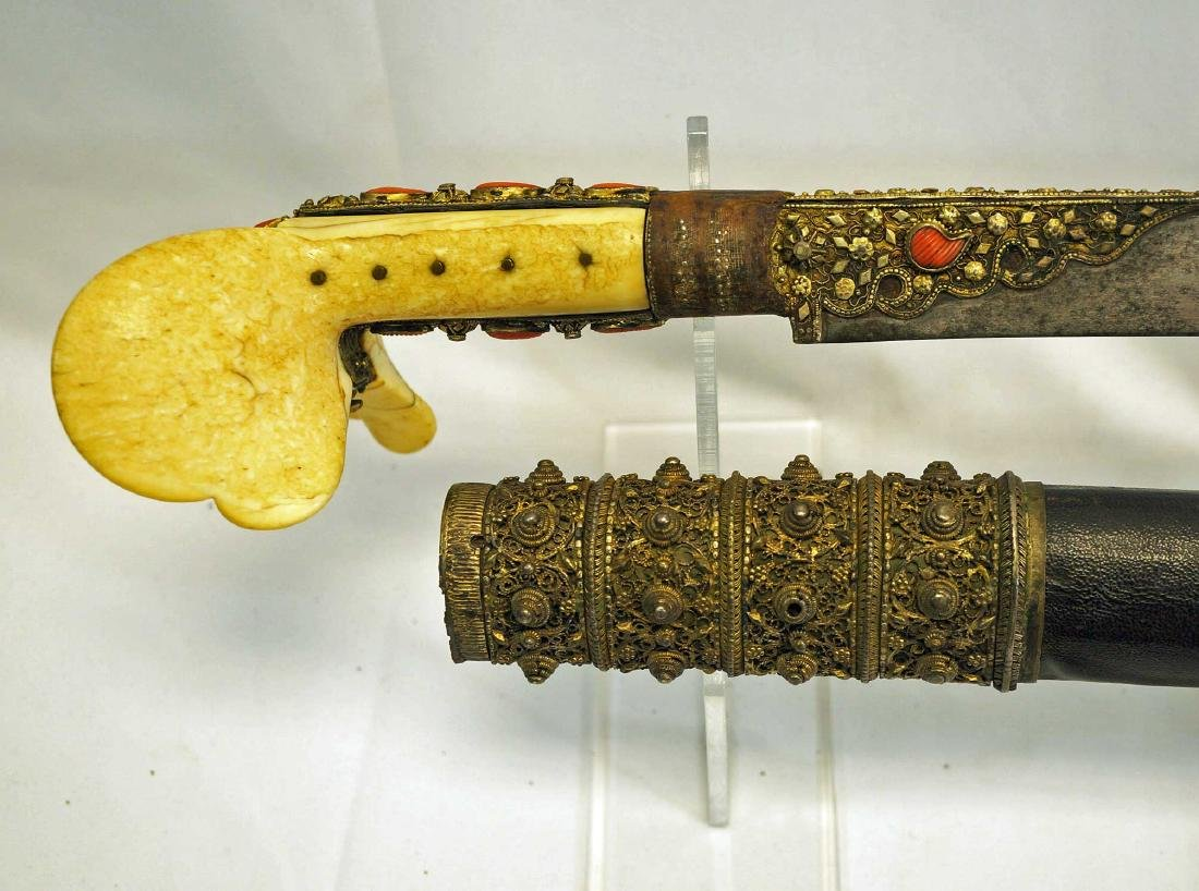 Turkish Ottoman Yataghan sword with scabbard.