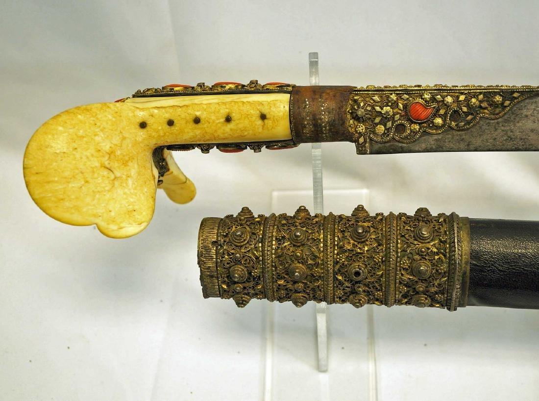 Turkish Ottoman Yataghan sword with scabbard.