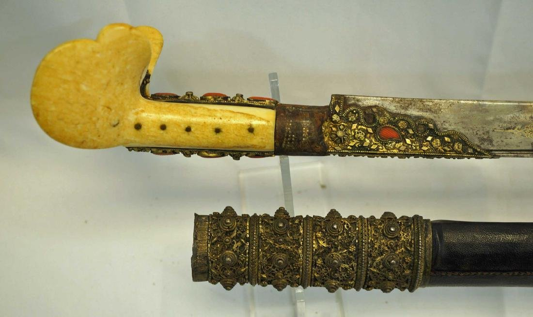 Turkish Ottoman Yataghan sword with scabbard. - 5