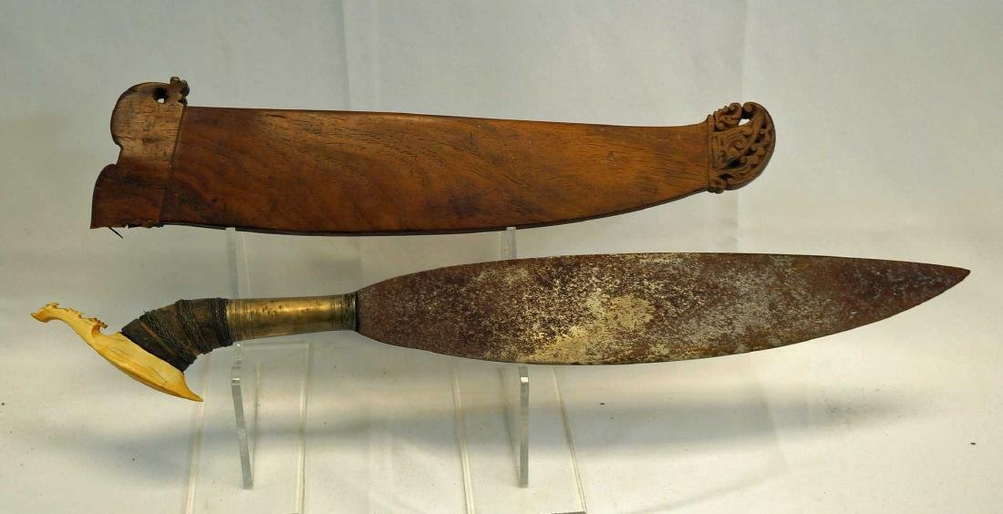 Moro Barong short sword w/carved wooden scabbard.