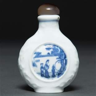 Snuff Chino realizado en porcelana azul y blanca.