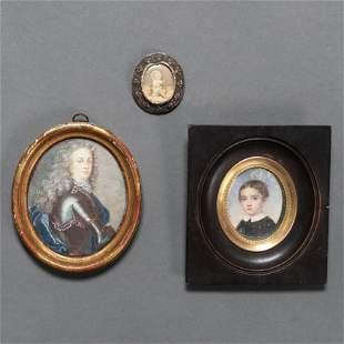 Conjunto de dos miniatura pintadas al óleo del