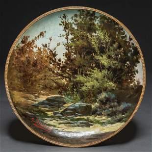 Paisaje con rocas y árboles Plato circular en