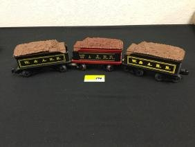 3 Count. VINTAGE LIONEL W&A.R.R. TENDER CARS. THESE ARE