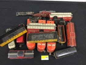 BOX OF VINTAGE MARX TIN CARS AND DUMMIES. FOR USE AS