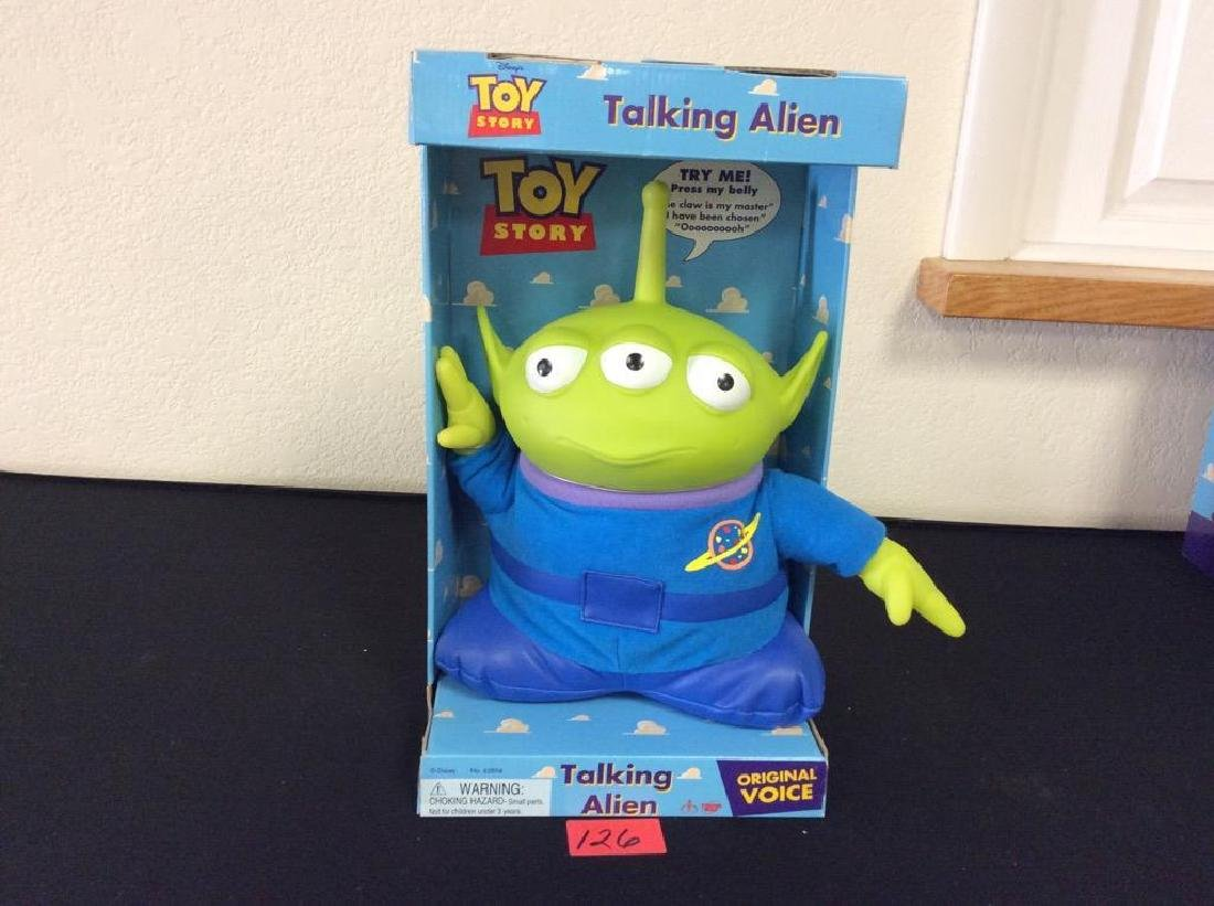 VINTAGE NIB TOY STORY, ELECTRONIC TALKING ALIEN WITH