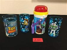 VINTAGE GRAB BAG OF ASSORTED TOY STORY DRINKING ITEMS.