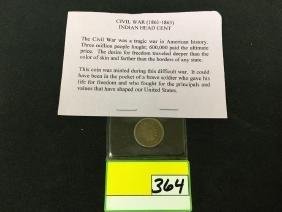Rare Civil War Indian Head Cent. 1861-1865