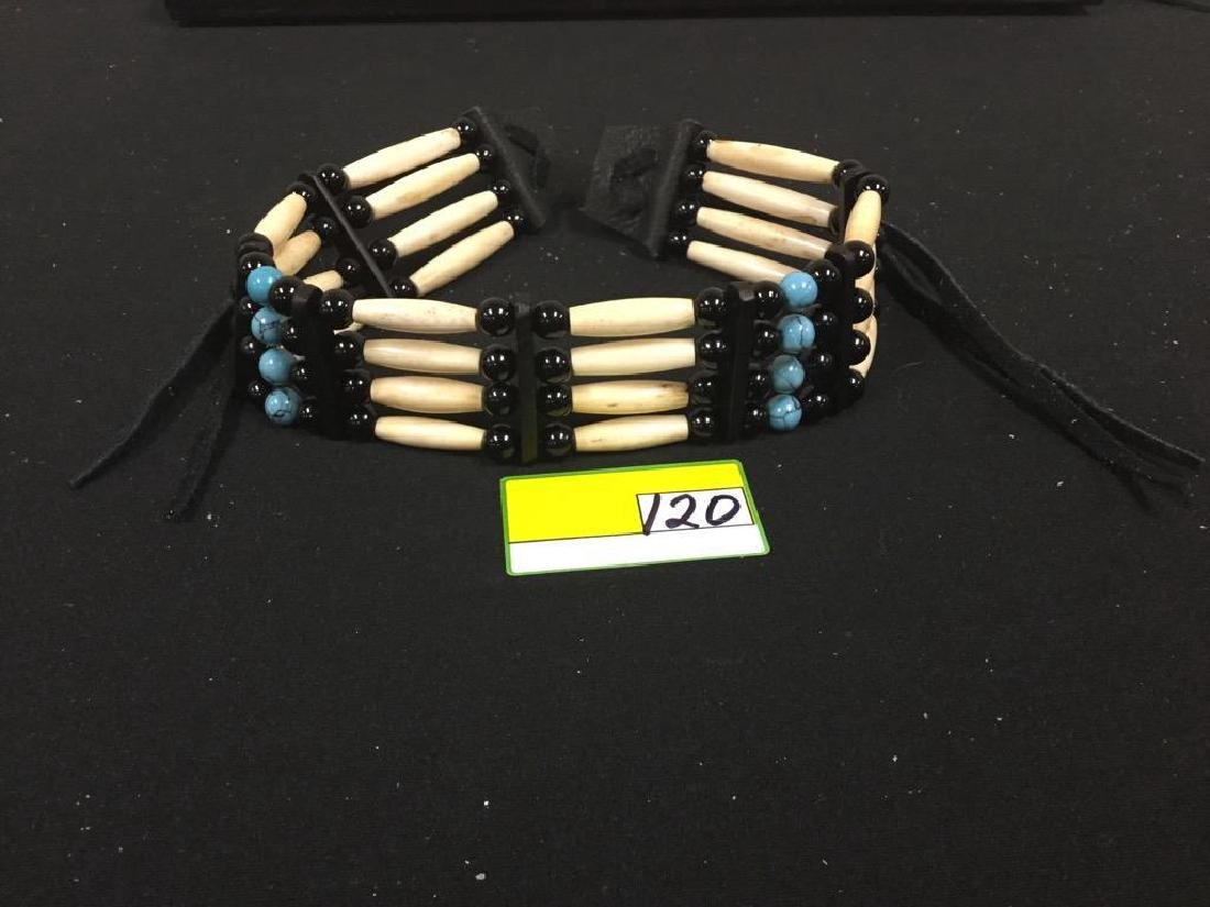 NATIVE AMERICAN BONE CHOCKER WITH TURQUOISE AND