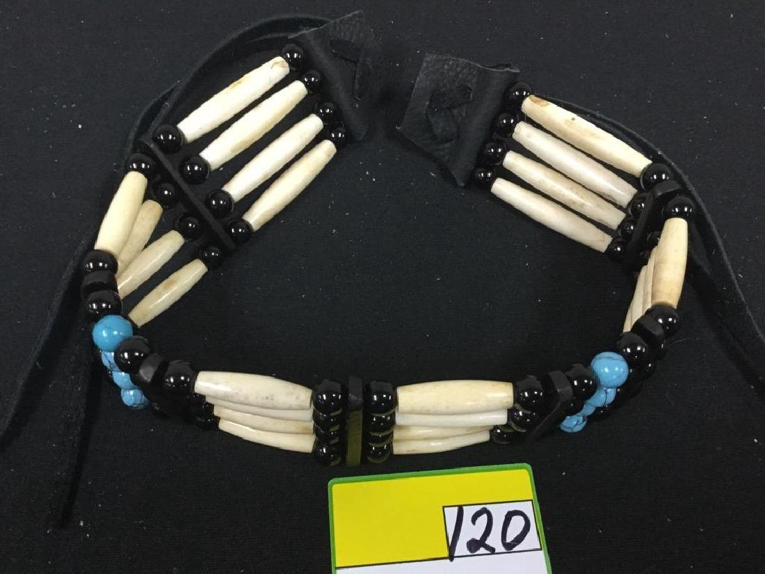 NATIVE AMERICAN BONE CHOCKER WITH TURQUOISE AND - 2