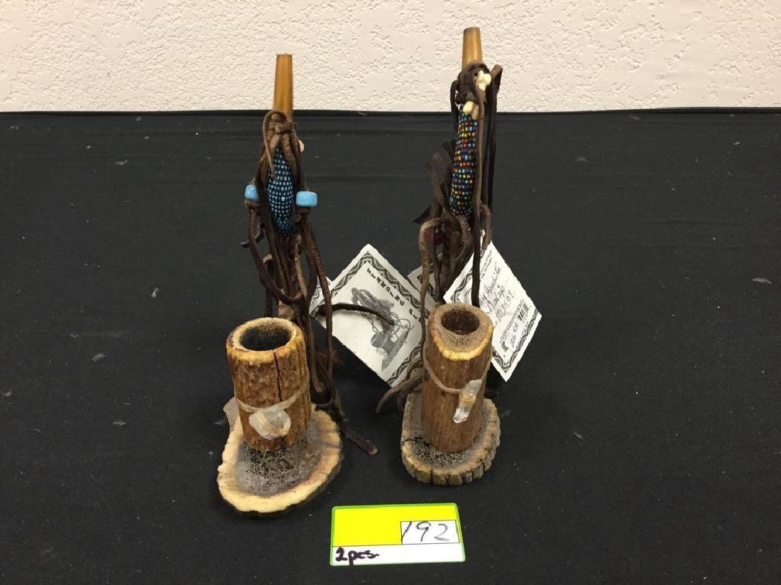 2 COUNT NAVAJO STANDING PIPE. HANDCRAFTED WITH ANTLER