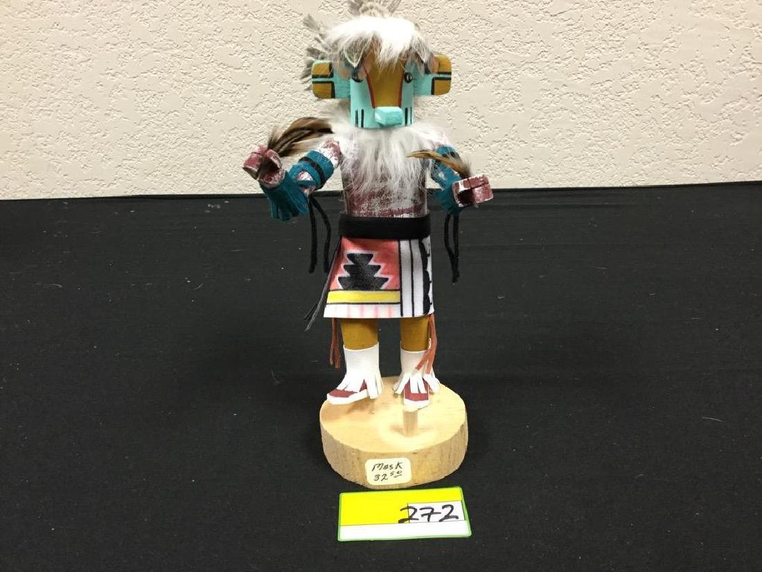 "NATIVE AMERICAN HANDCRAFTED ""LIZARD"" MASKED KACHINA"