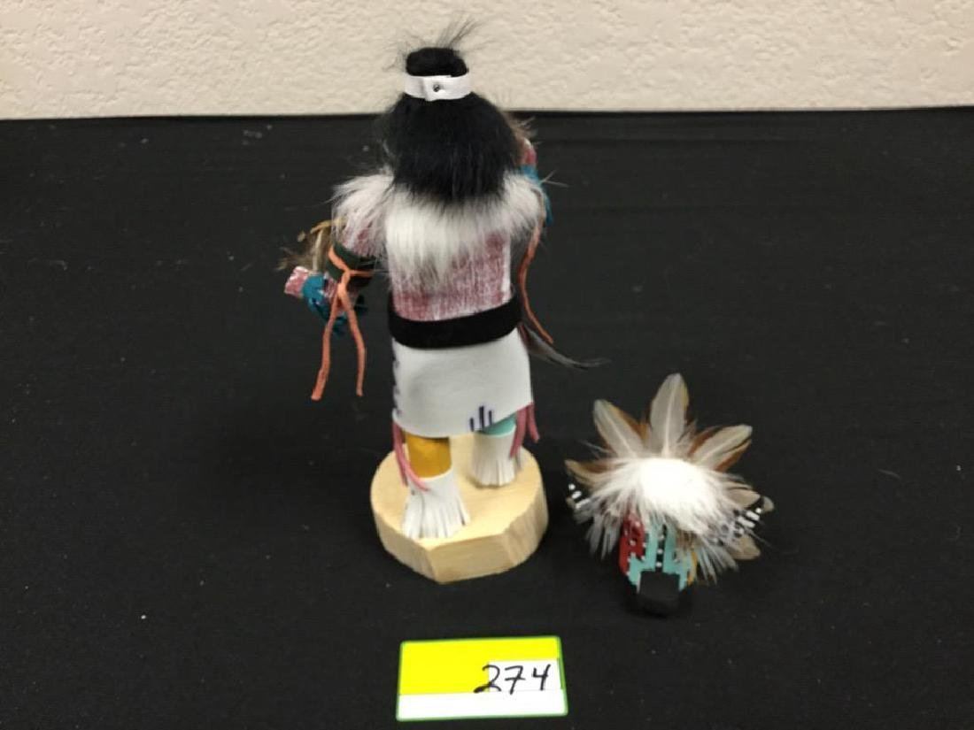 "NATIVE AMERICAN HANDCRAFTED ""BADGER"" MASKED KACHINA - 3"