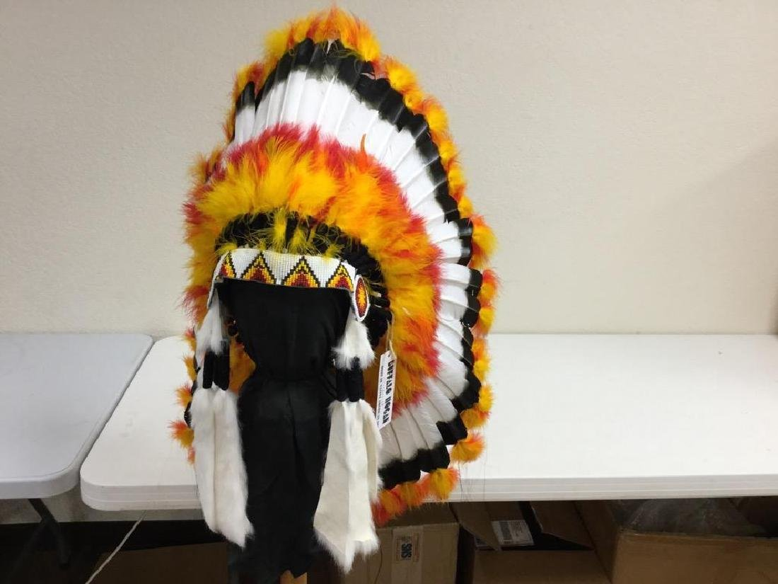 NATIVE AMERICAN HANDCRAFTED HEADRESS WITH BEADED BAND