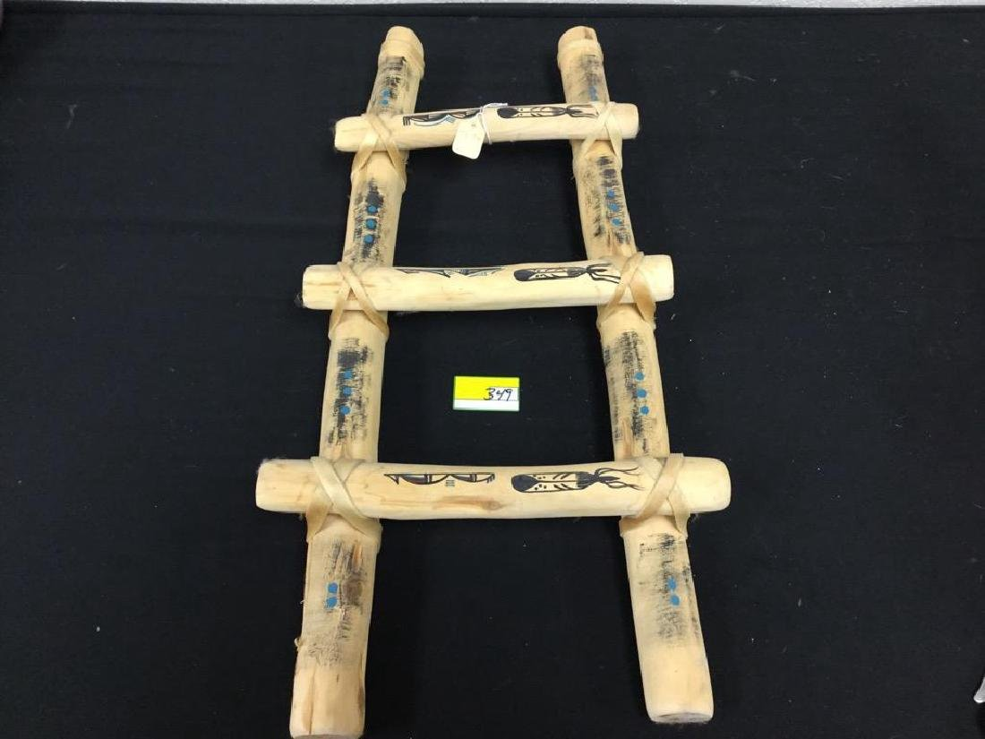 HANDCRAFTED NATIVE AMERICAN MINIATURE PUEBLO LADDER.