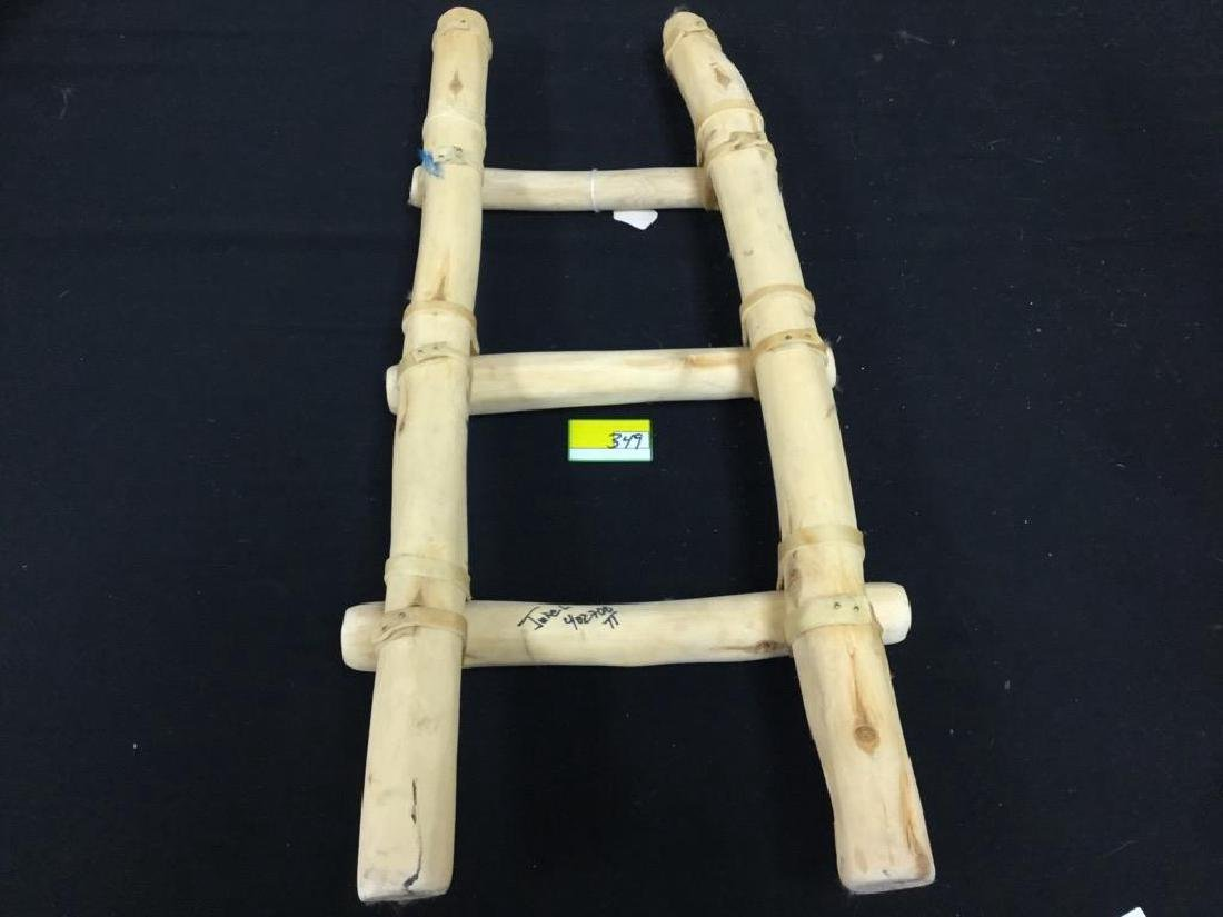 HANDCRAFTED NATIVE AMERICAN MINIATURE PUEBLO LADDER. - 4