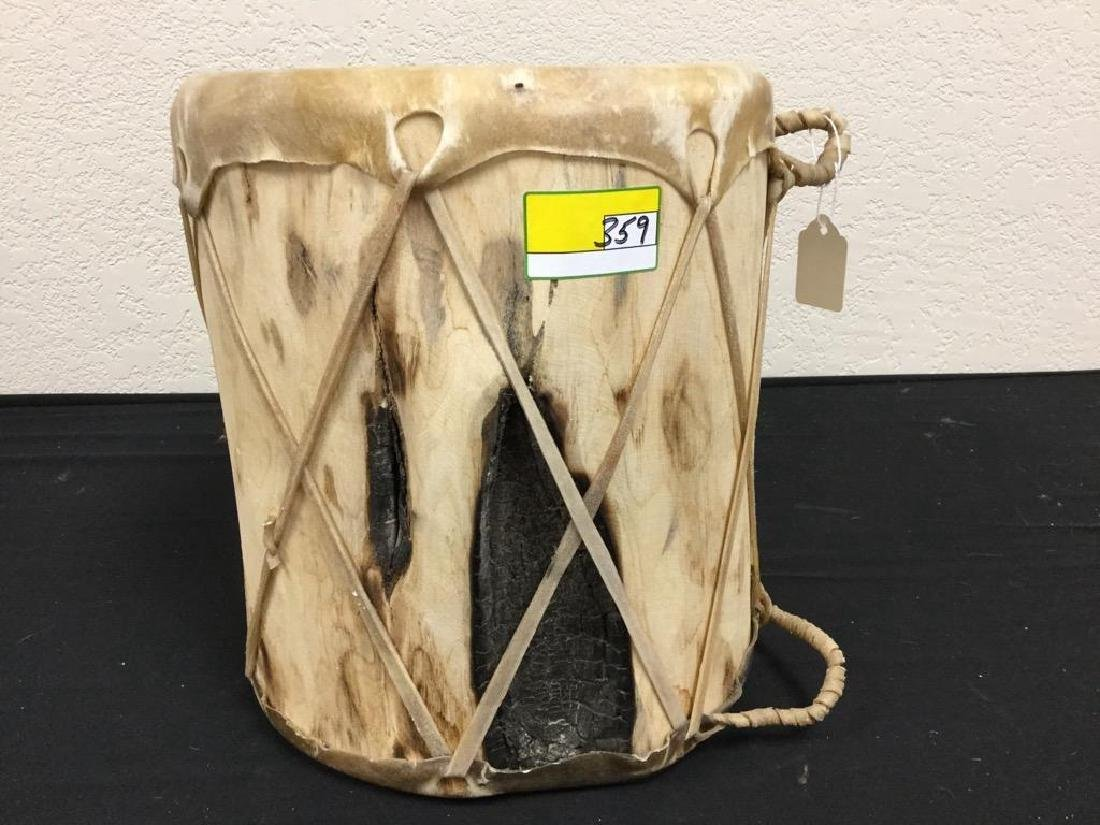 NATIVE AMERICAN HANDCRAFTED WOOD STRETCHED RAWHIDE DRUM