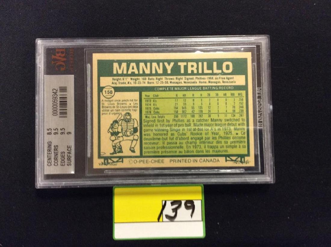 """1977 O-PEE-CHEE #158 CHICAGO CUB GREAT """"MANNY TRILLO"""" - 2"""