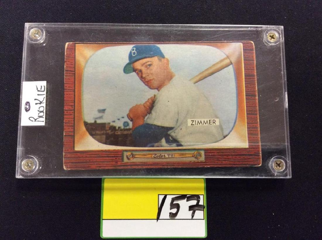 1955 BOWMAN #65 DON ZIMMER ROOKIE CARD.