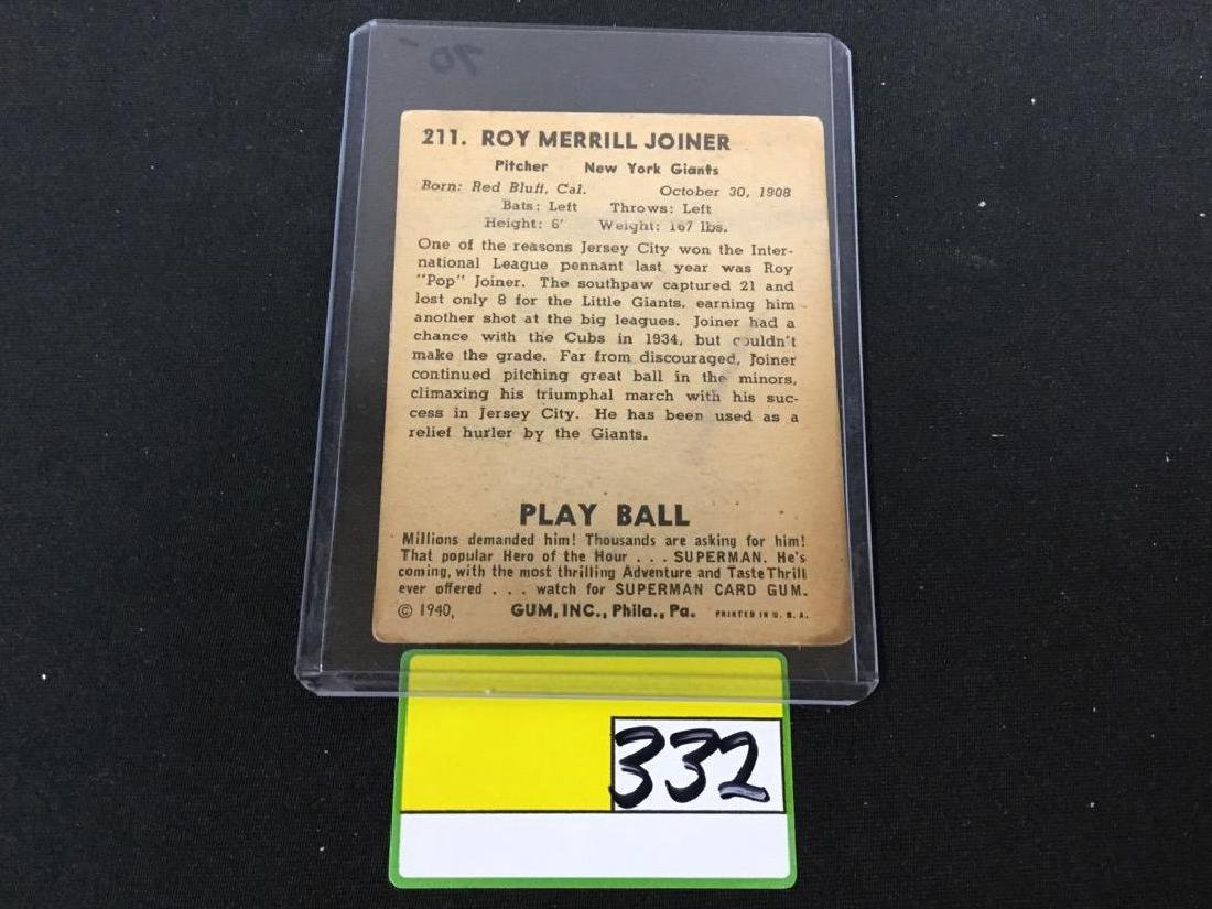 """VINTAGE 1940 PLAY BALL HIGH #211 ROY """"POP"""" JOINER. NEW - 2"""