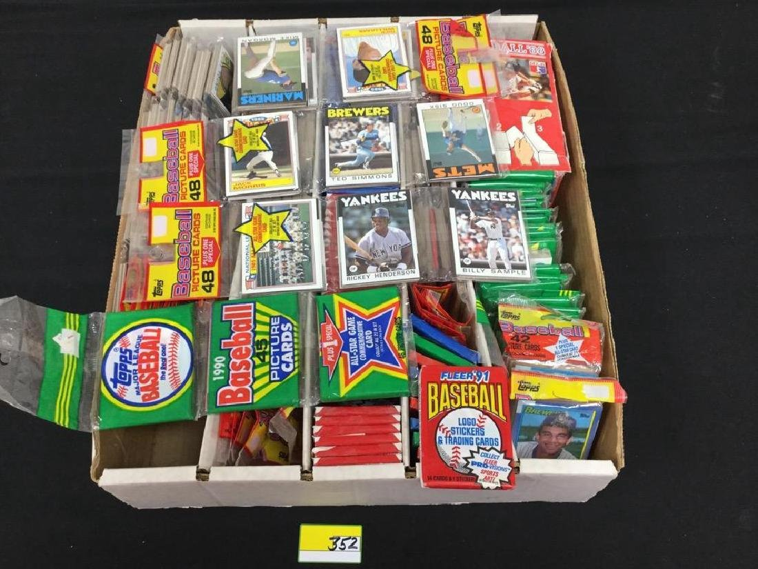 195 COUNT MIXED LOT, FACTORY SEALED PACKS 1980's and