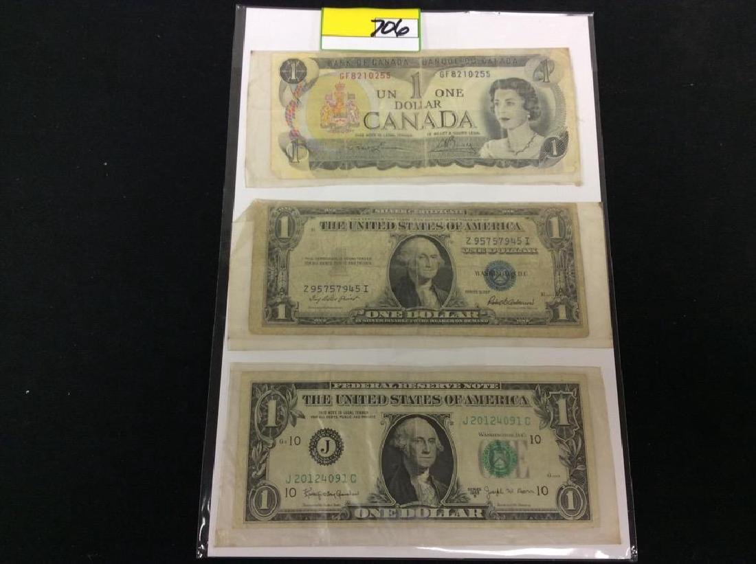 3 COUNT PAPER MONEY. ONE CANADIAN DOLLAR, ONE 1935F