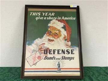 1941 WWII Era Vintage Defense Bonds and Stamps Santa