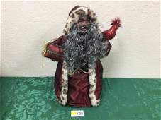 16 Ethnic Santa Tree Topper in Red Robes with Present
