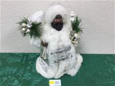 12 Ethnic Santa Tree Topper in Silver and White Robes