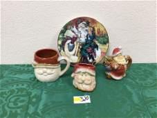 Lot of 4 Santa Dishware - Mug, Sugar Bowl, Creamer,