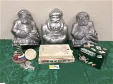 Lot of 9 Santa Bakeware - Cake Molds, Recipe Keeper,