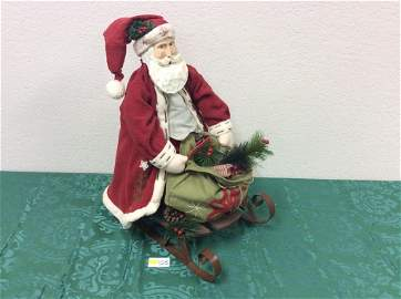 Wooden Faced / Plush Body Santa on Sleigh in Red Robes
