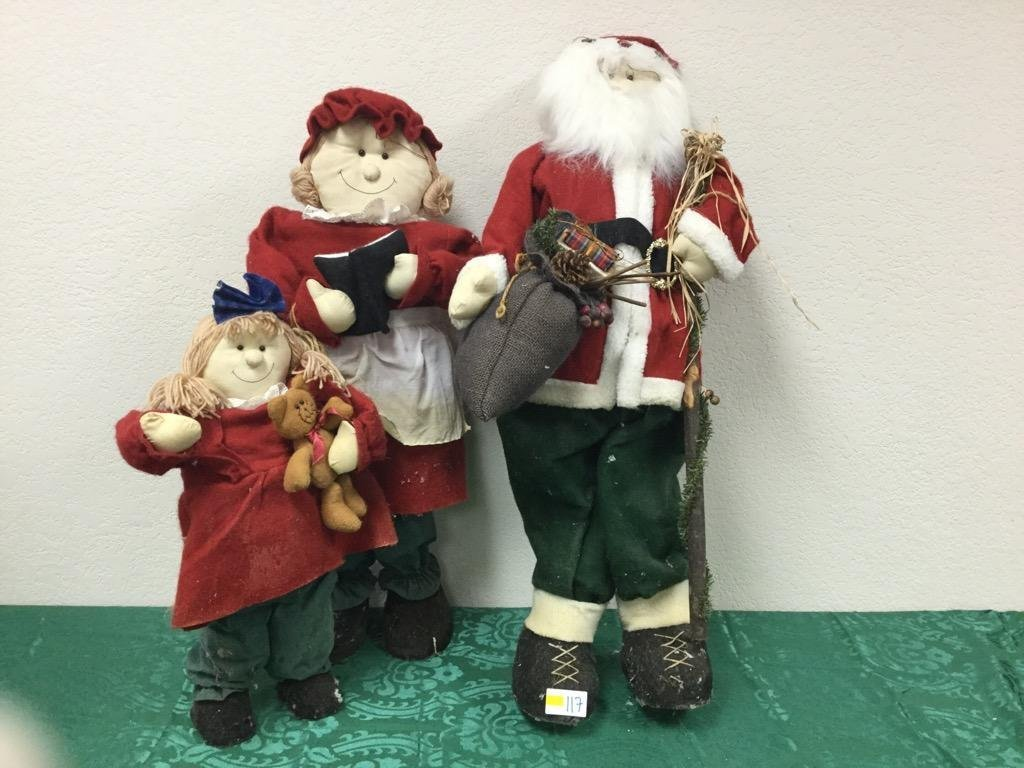 Lot of 3 - 3' Santa, 2.75' Mrs. Claus, and 2' Child