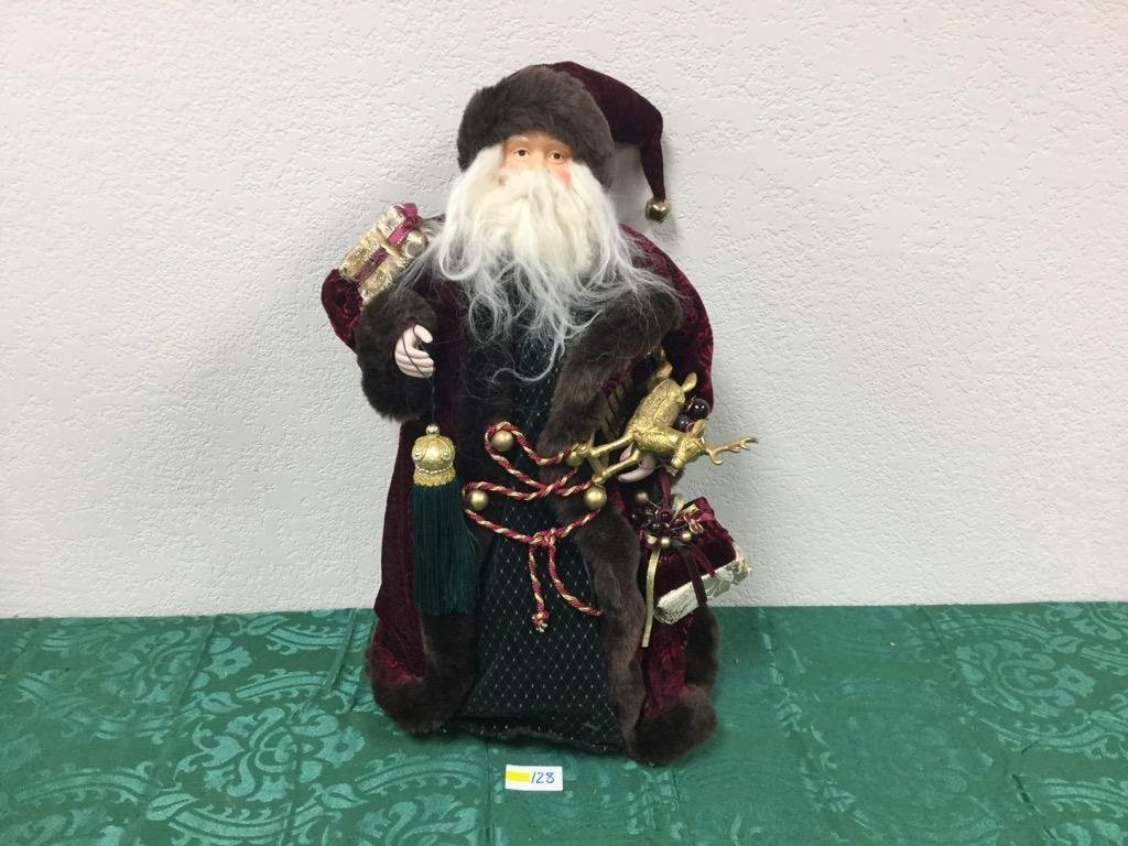 2' Santa Tree Topper in Red Rose and Green Robes with