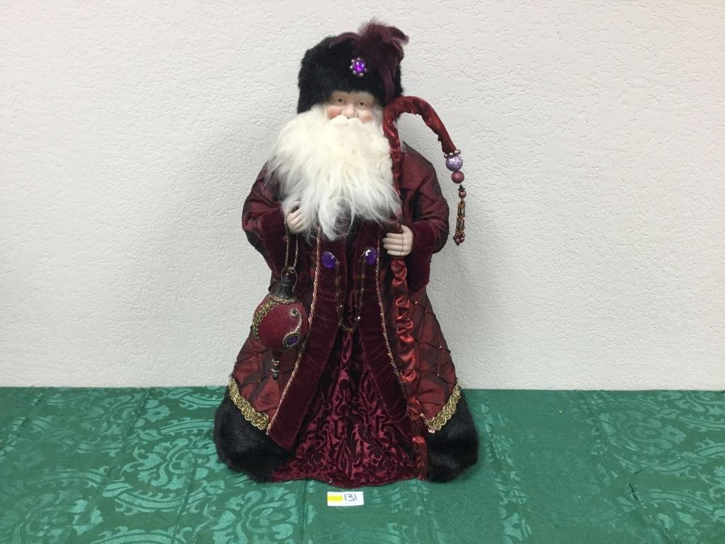 2' Santa Tree Topper in Deep Red Robes with Staff and