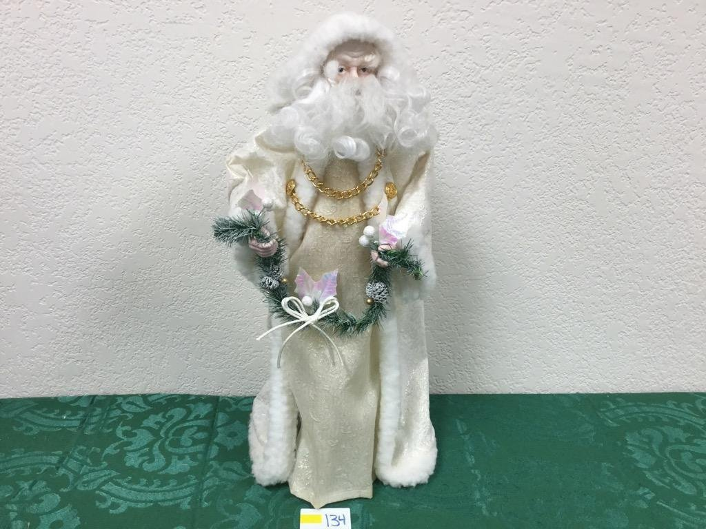 """19"""" Santa Tree Topper in White Robes with Garland"""