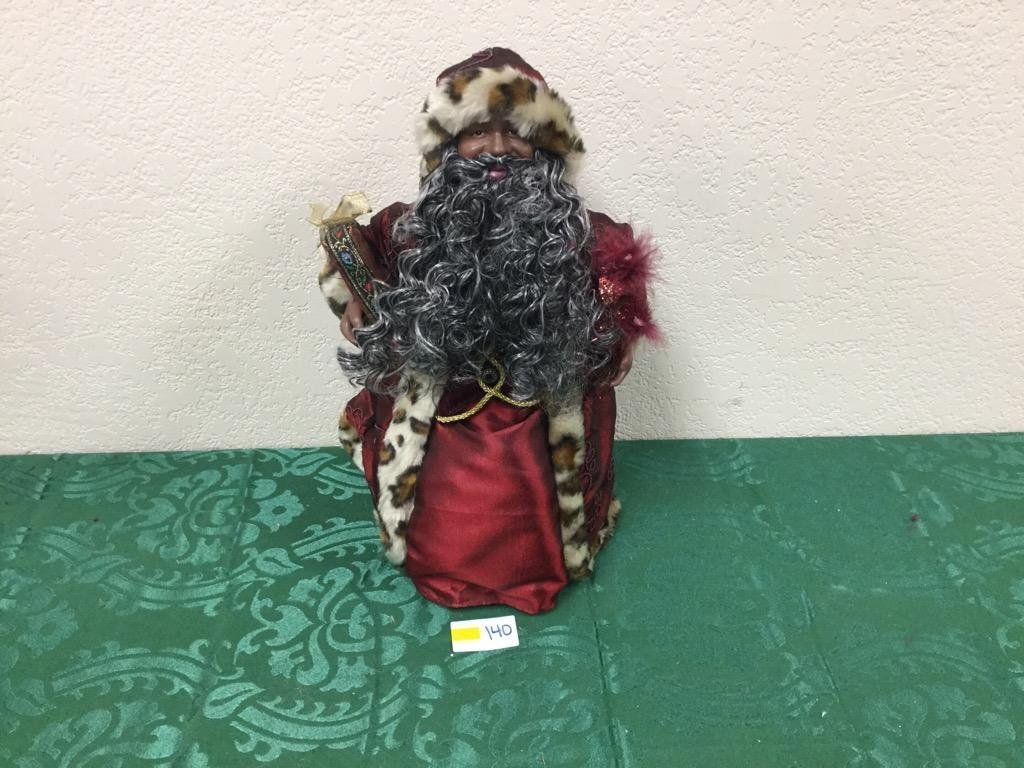 """16"""" Ethnic Santa Tree Topper in Red Robes with Present"""