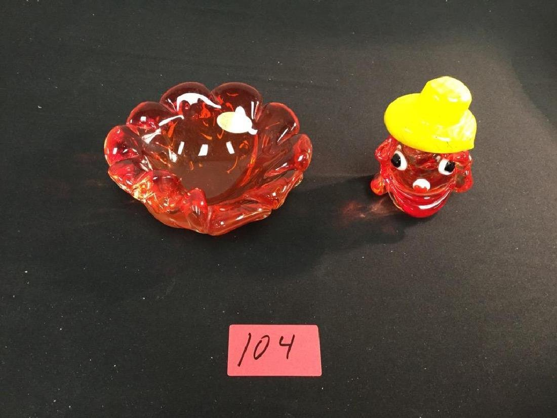 ARTE MURANO CANDY DISH AND MURANO WHIMSICAL BIRD