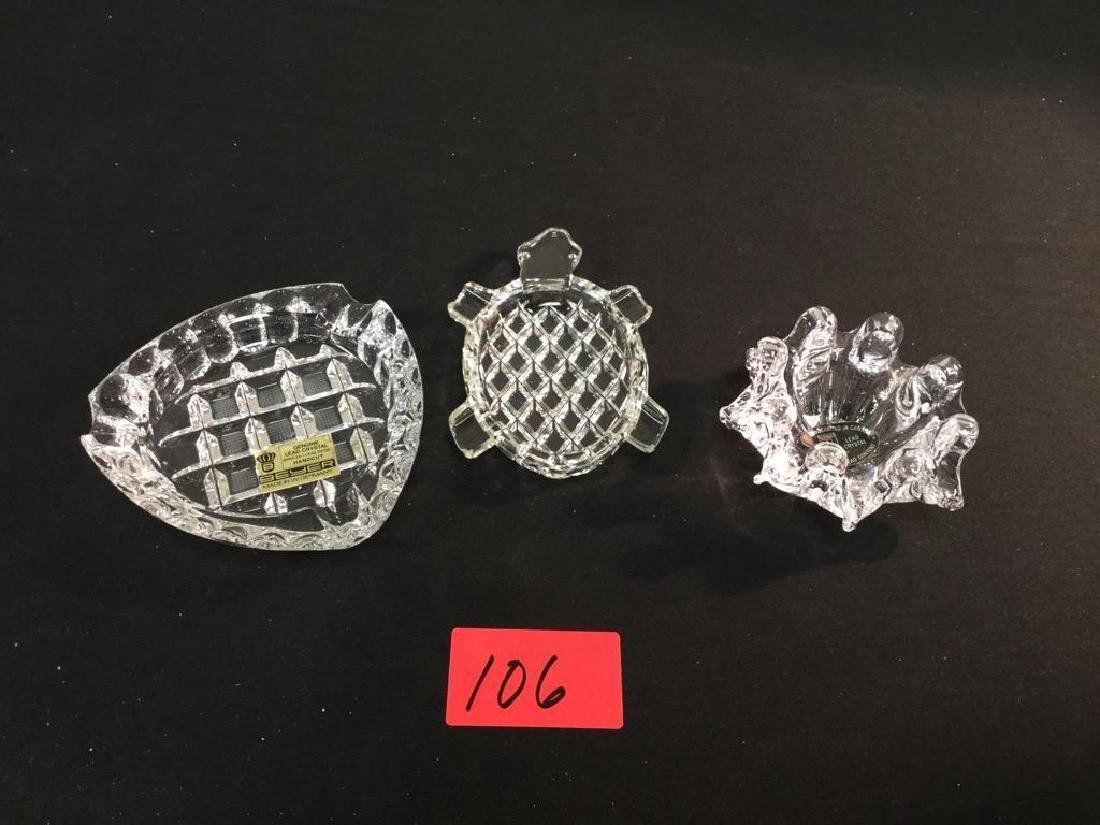 3 count GENUINE LEAD CRYSTAL ASHTRAYS. BEYER AND RIFKES