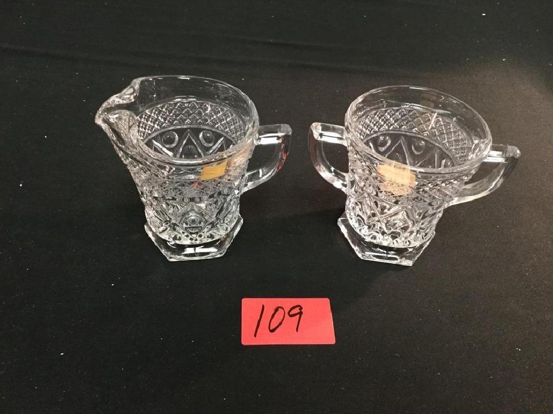 2 piece VINTAGE IMPERIAL CRYSTAL CREAMER AND SUGAR BOWL