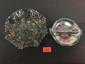 VINTAGE ART GLASS CANDY DISH AND BOWL. IRIDESCENT AND