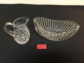 2 count CUT GLASS BOWL AND PITCHER