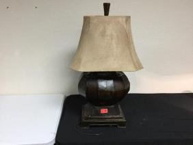 VINTAGE Asian style LARGE BRONZE BASED LAMP. SUADE
