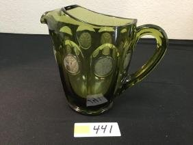 """VINTAGE FOSTORIA """"OLIVE GREEN"""" COIN GLASS 8"""" WATER"""