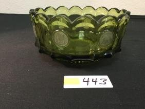"VINTAGE FOSTORIA ""OLIVE GREEN"" COIN GLASS 71/2"" FRUIT"